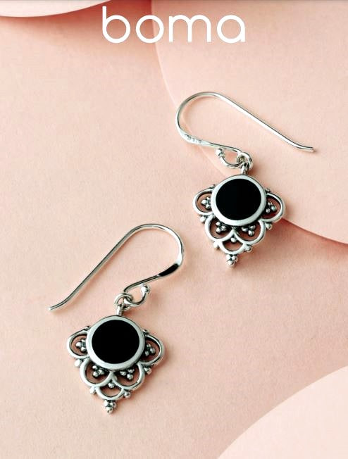 Sterling silver earrings with onyx stone. Filagree at the bottom.