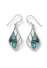 Load image into Gallery viewer, leaf shape sterling earring with cutouts on inner half and abalone on the outer half. set in sterling with a french wire.