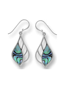 leaf shape sterling earring with cutouts on inner half and abalone on the outer half. set in sterling with a french wire.