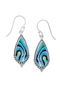 Sterling Silver Dangle teardrop shaped Earring with Abalone Shell