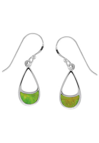 Teardrop shape silver earring with green turquoise inlaid in half moon at bottom.