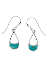 Load image into Gallery viewer, Sterling silver earring with turquoise inlaid at bottom