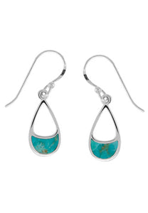 Sterling silver earring with turquoise inlaid at bottom