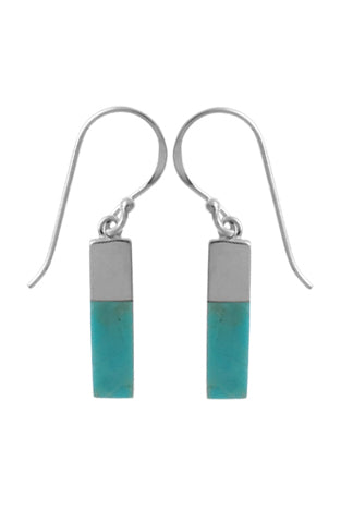 turquoise bar with sterling silver on top 1/3 connecting to french wire