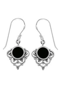 silver dangle earrings with onyx stone.