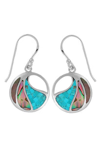 Fractured turquoise mother of pearl, abalone, and dyed brown mother of pearl inlaid in a circular sterling earring on a french wire