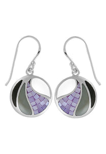 fractured Purple, gray, and black mother of pearl dangle silver earrings.