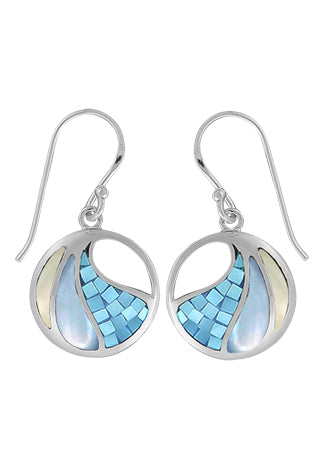 Fractured blue Mother of Pearl, Dyed blue mother of pearl, and natural mother of pearl inlaid into a sterling circle earring with a french wire.