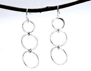 Sterling silver dangle earring with trhee circles. 2 inches long. Lightweight and casual