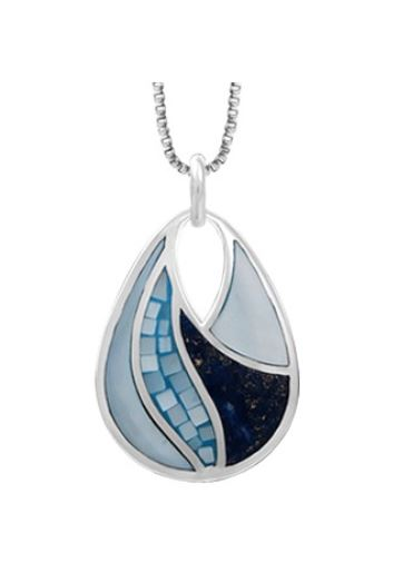 teardrop shaped silver pendant with lapis and blue mother of pearl inlaid in 4 sections. an upside down teardrop shape cutout at the top holds the bale.