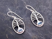 Load image into Gallery viewer, sterling silver tree of life earring with blue topaz
