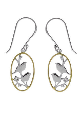 boma 2-Tone Birds in a Frame Earrings