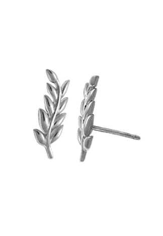 sterling silver post earring of a vine with 9 leaves and a slight curve