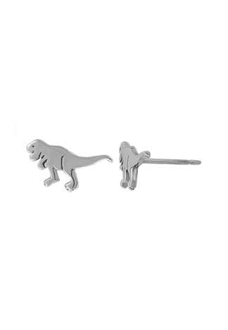 stud earrings of a t-rex dinosaur with tail out