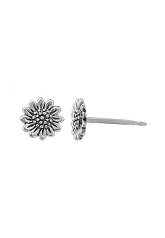 sterling stud earring of a sunflower with textured center and 12 petals