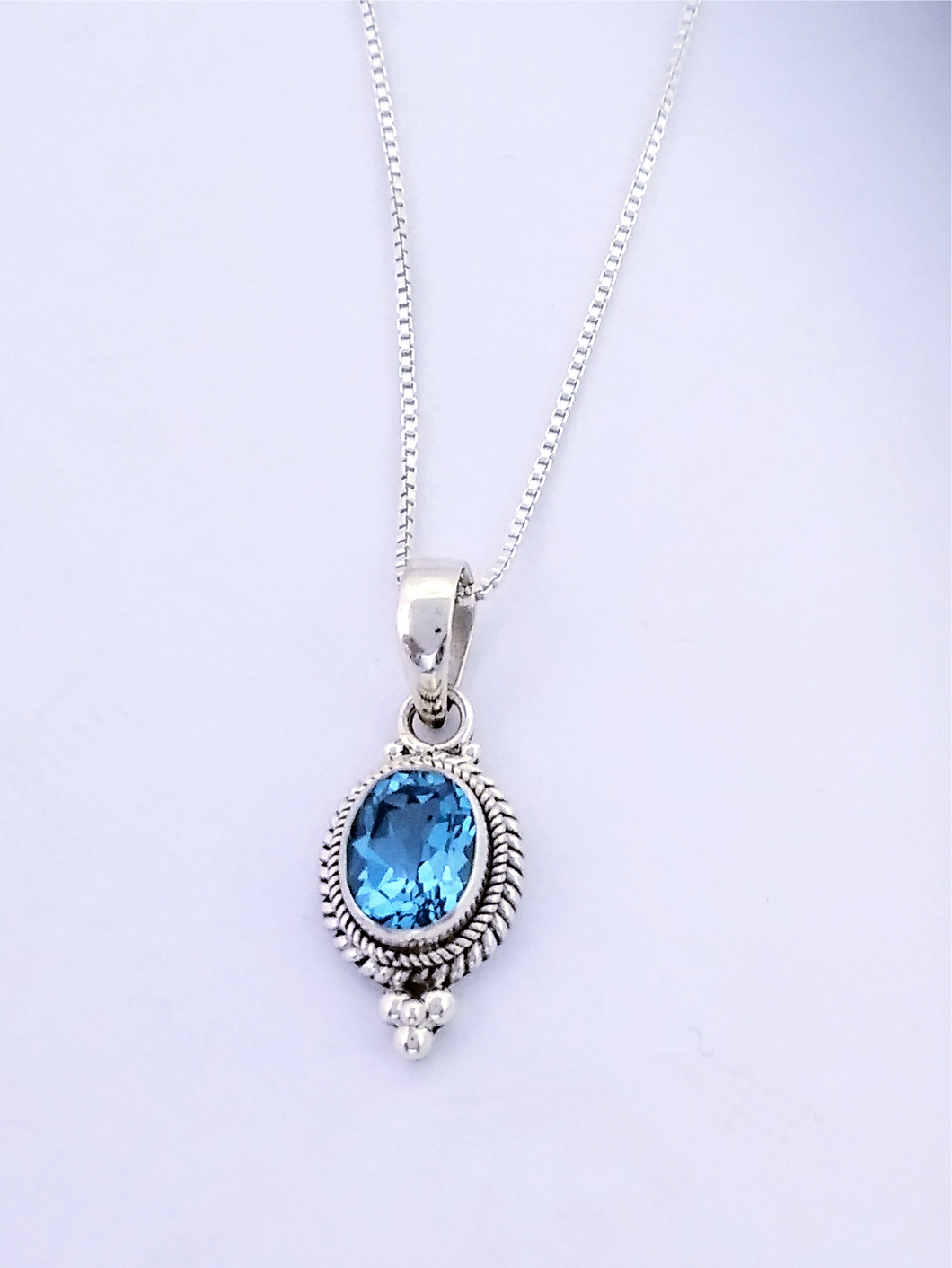 Sterling, Blue Topaz Pendant