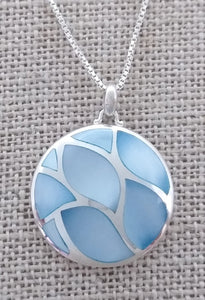 sterling silver necklace with inlaid blue stones
