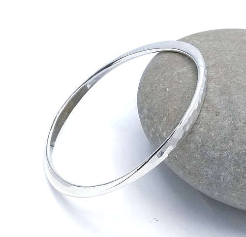 silver hammered bangle