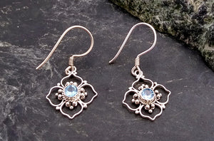 Sterling Bali Earring with Blue Topaz