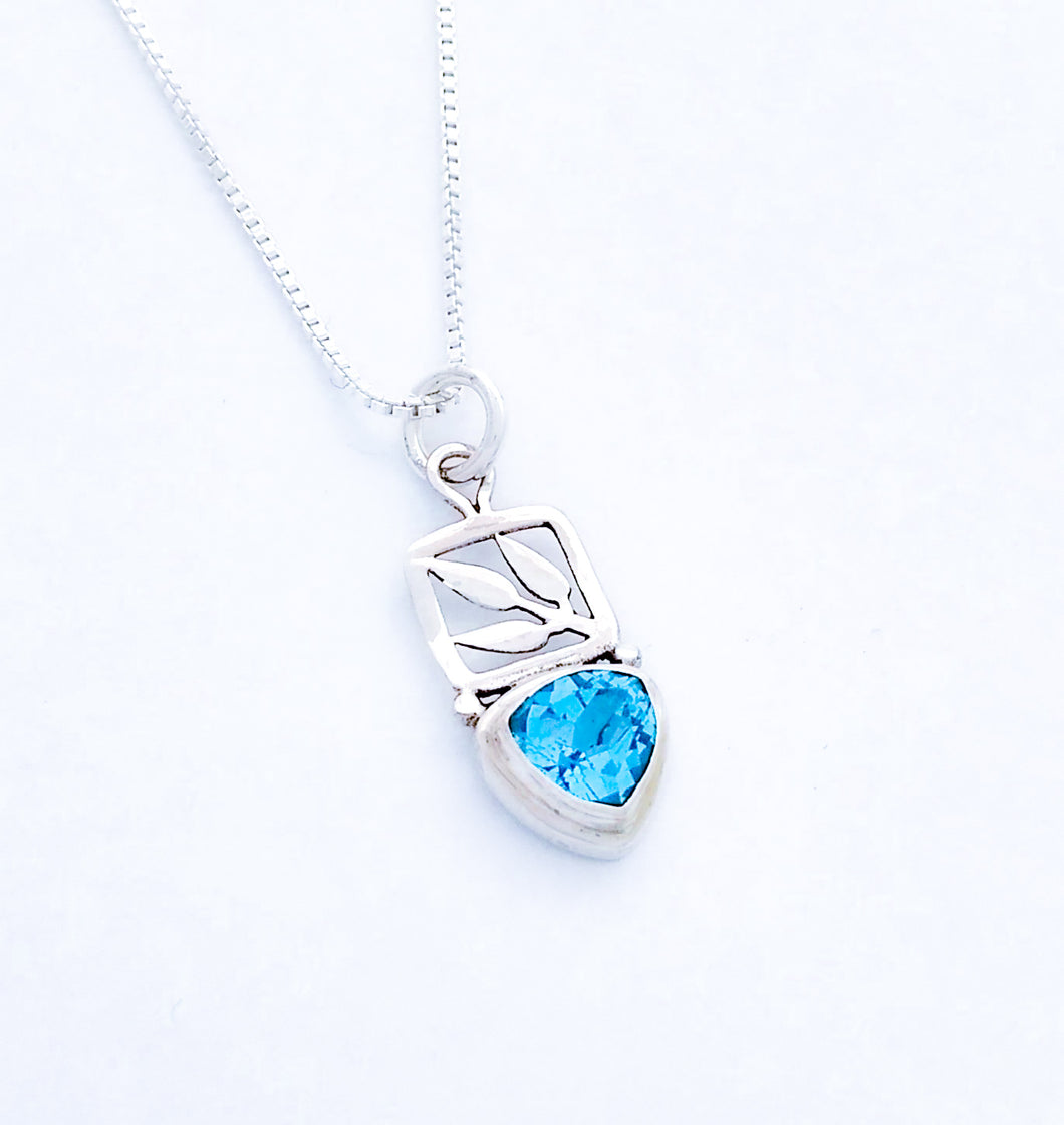 Sterling Silver Pendant with Stone and Leaf Detail