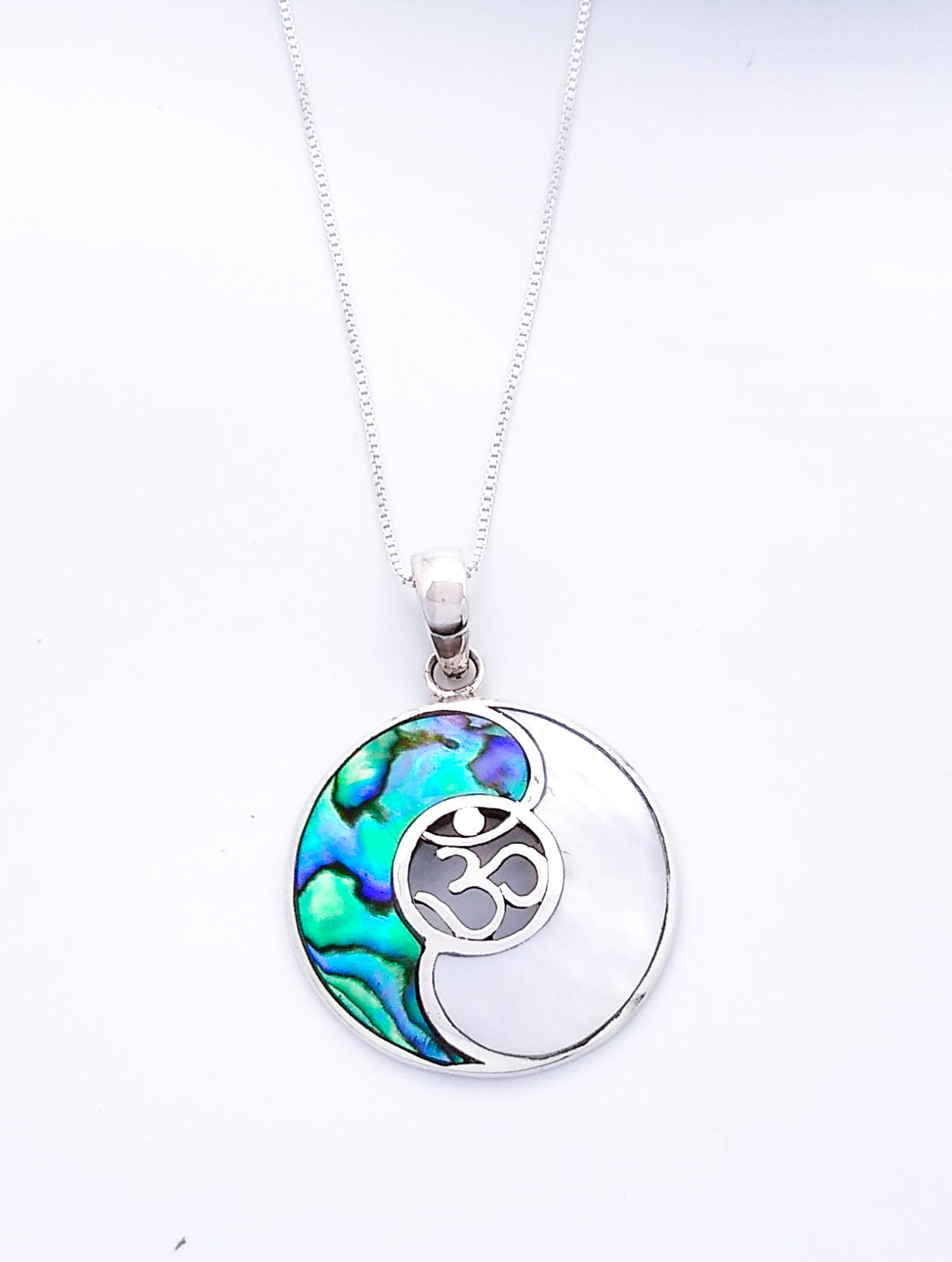 Sterling Silver Yin Yang Pendant with Abalone or Onyx
