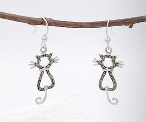 Sterling Silver and Marcasite Cat Earrings