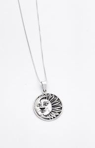 Sterling Silver Sun and Moon Pendant