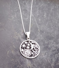 Load image into Gallery viewer, Sterling Silver Sun, Moon, and Stars Pendant