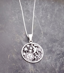 Sterling Silver Sun, Moon, and Stars Pendant