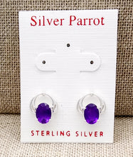Load image into Gallery viewer, Sterling Silver Fancy Amethyst Studs
