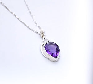 Sterling Silver Pendant with Large Amethyst