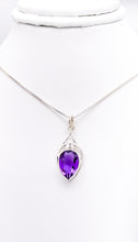 Load image into Gallery viewer, Sterling diamond-shaped pendant with a faceted amethyst in an upside-down teardrop shape.