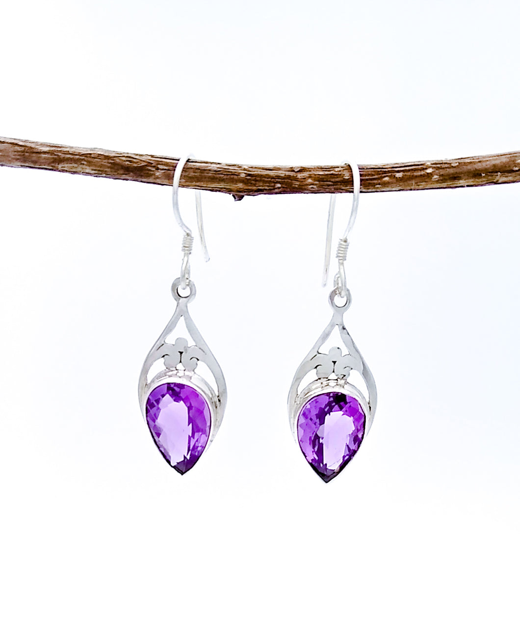 Sterling Silver Earrings with Large Amethyst