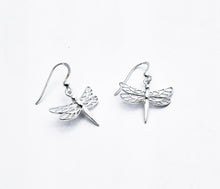Load image into Gallery viewer, Sterling drop earring of dragonfly with 4 wings with cutout details and straight tail.