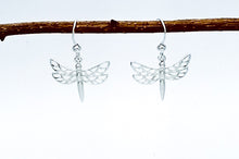 Load image into Gallery viewer, Sterling silver drop earring of a dragonfly