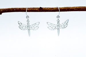 Sterling silver drop earring of a dragonfly