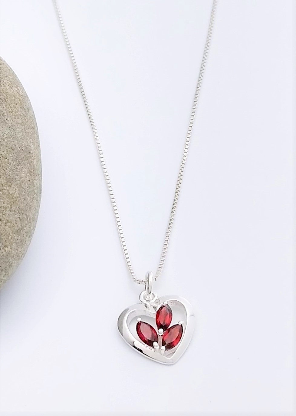 Sterling Silver Heart Pendant with Garnets