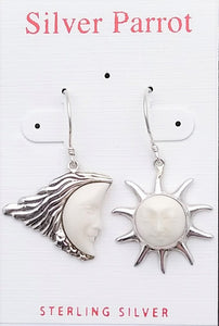 Sterling Earrings Moon and Star Earrings