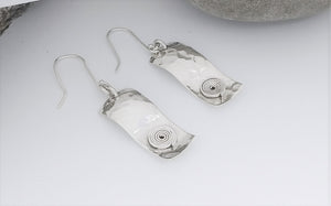 Handmade Sterling Hammered Earrings with Spiral Detail