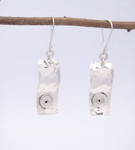Load image into Gallery viewer, Handmade Sterling Hammered Earrings with Spiral Detail