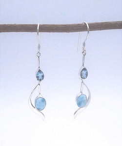 Sterling Silver Larimar and Blue Topaz Earring