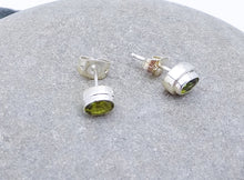 Load image into Gallery viewer, Classic Sterling Silver Gem Studs. Amethyst, Peridot, Blue Topaz or Garnet
