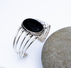 Navajo Sterling Silver Cuff With Onyx