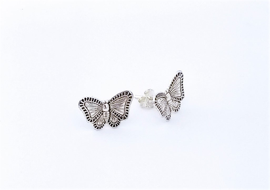 Detailed Sterling Butterfly Studs
