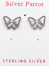 Load image into Gallery viewer, Detailed Sterling Butterfly Studs
