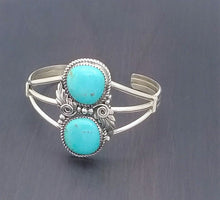 Load image into Gallery viewer, Navajo 2 Stone Turquoise Sterling Silver Bracelet
