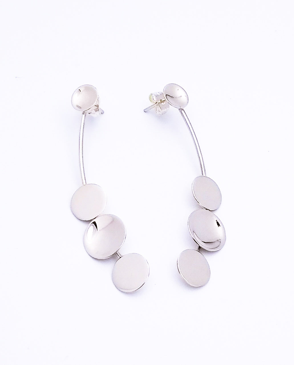 Long Sterling Silver Post Earrings With Discs