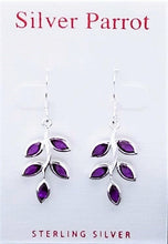 Load image into Gallery viewer, Sterling Silver Leaf Earring In Amethyst Or Peridot
