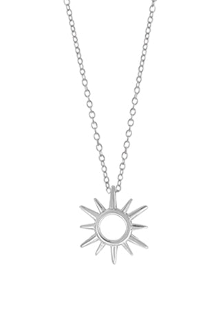 sterling silver pendant of a sun. a circle with two alternating lengths of rays