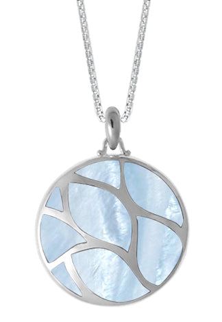 silver pendant with inlaid blue mother of pearl